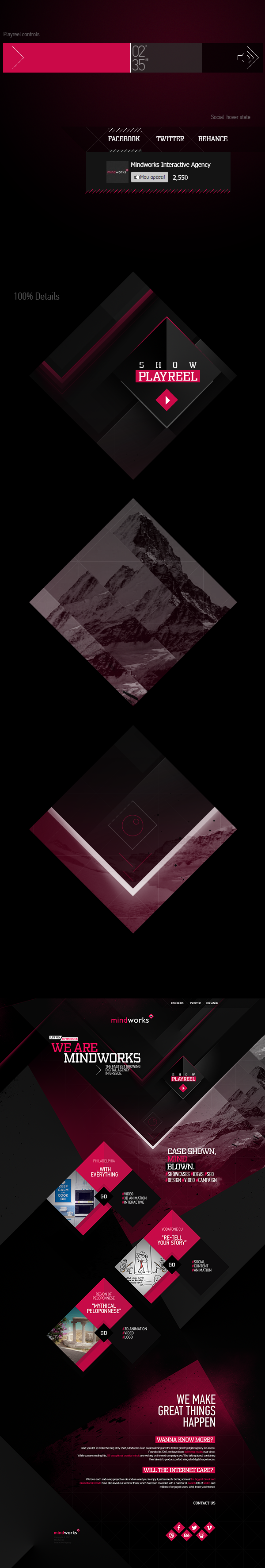 MindWorks microsite motion parallax html5 magenta