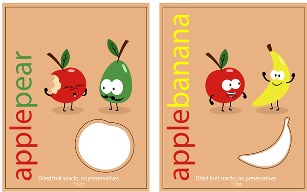 Apple Character Design : Apple and pear fruit snack packaging