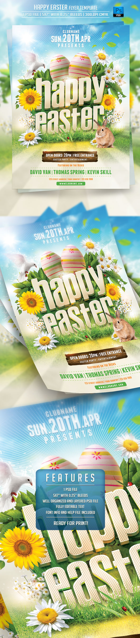 Happy Easter Flyer Template on Behance