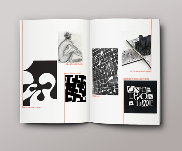 typographic brochure magazine Layout Design editorial red and black red contemporary type