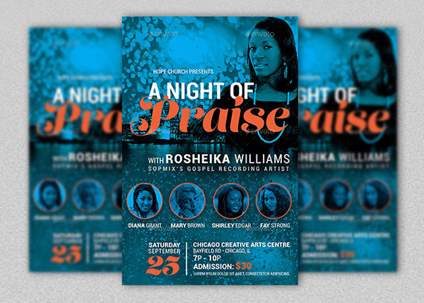 Praise Concert Flyer and Poster Template on Behance – Azure Flyer Template