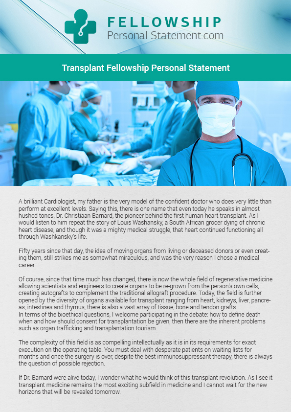 Transplant fellowship personal statement help on Pantone
