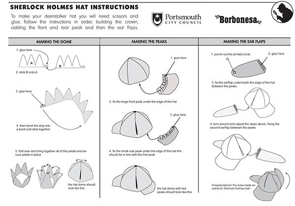 Sherlock holmes paper deerstalker hat template on behance deerstalker hat template instruction sheet maxwellsz