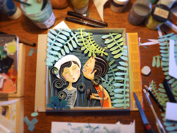 Character gouache  collage  nature  setting  vegetation  love  Couple  kiss  blue  night  moon  Leaves  Plants poetical