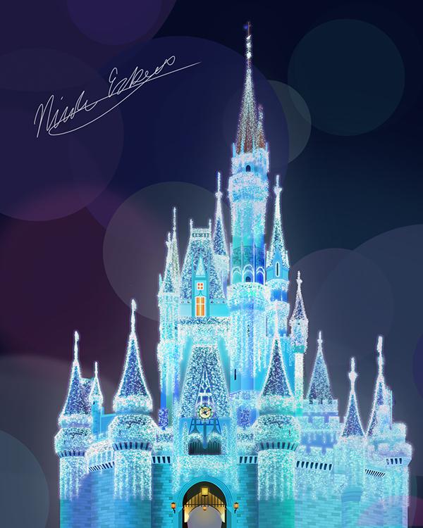 Cinderella Castle Christmas.Disney Castle At Christmas Digital Painting On Pratt
