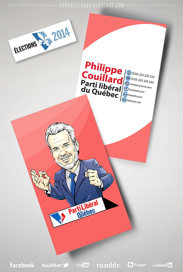 business card Character Quebec Elections Canada caricature   marketing   social media Promotion graphic impressive personalized