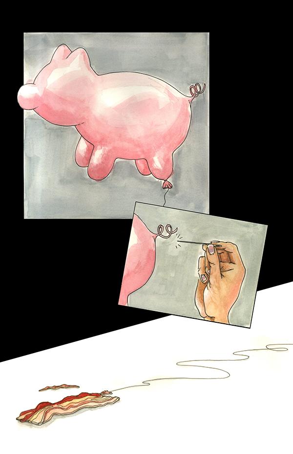 comic wordless comic pig balloon bacon gouache ink