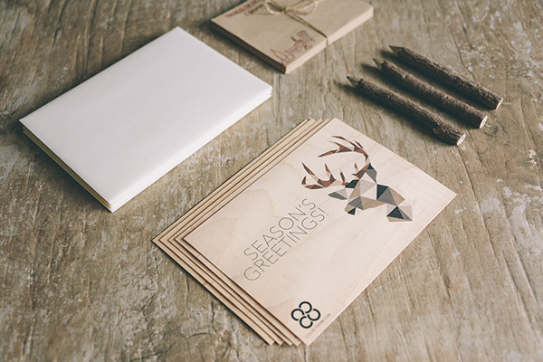 holidays Christmas reindeer deer Low Poly geometric art graphic cards of wood printed print greeting card calendar design gift