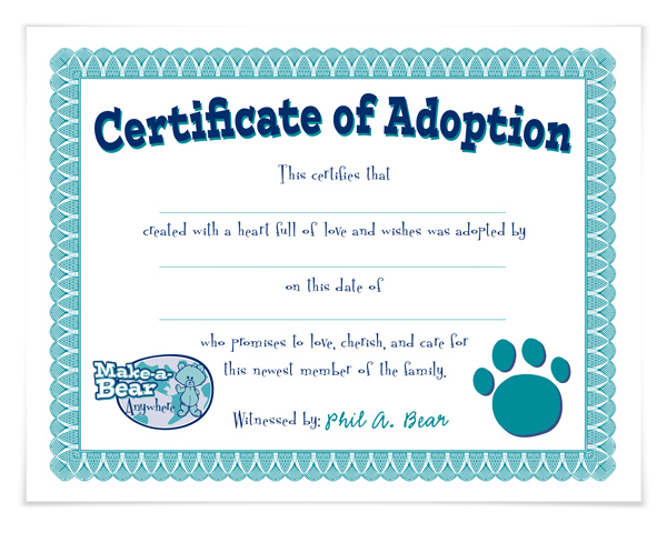 Adoption Certificate Template Mandegarfo