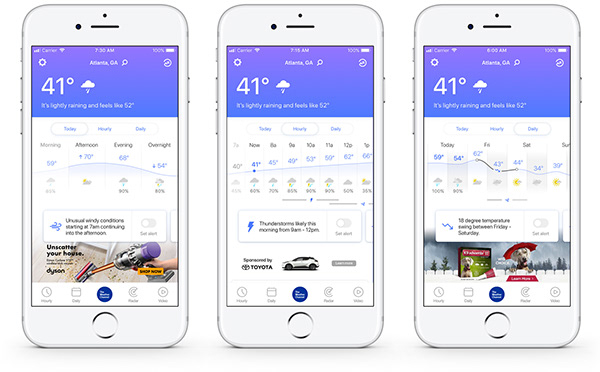 The Weather Channel Mobile App Redesign on Pantone Canvas
