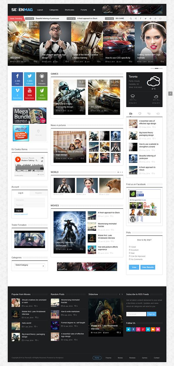 SevenMag - Blog/Magzine/Games/News Wordpress Theme on Behance