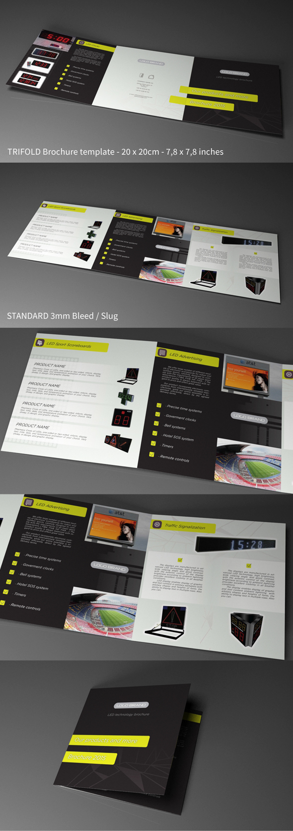 Free indesign template trifold square led tech on behance for Tri fold brochure template indesign cs6