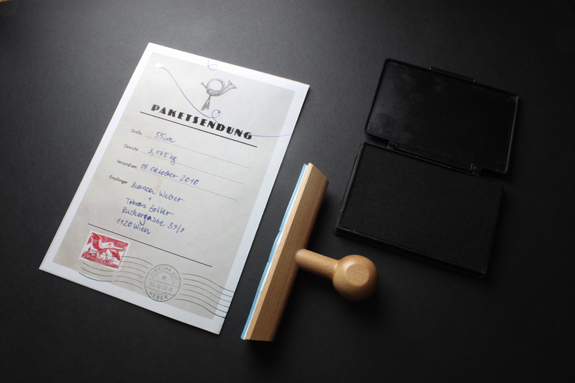 tobias zotter birth pen announcement baby stork parcel