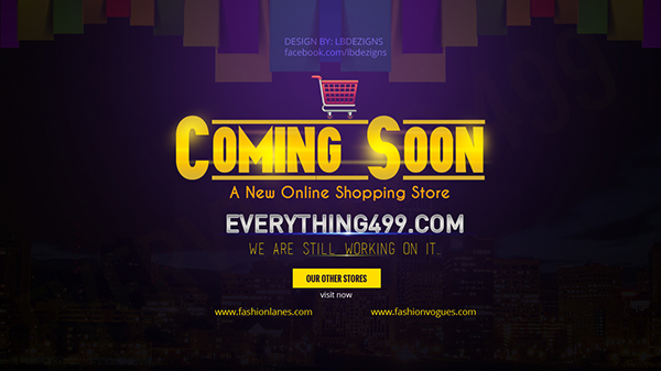 Coming soon page for a new online shopping website on behance for New online shoping site