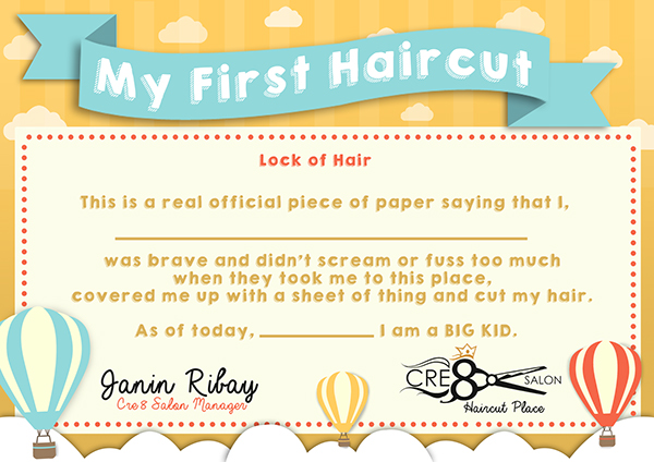 Kid 39 s first haircut certificate on behance for My first haircut certificate template