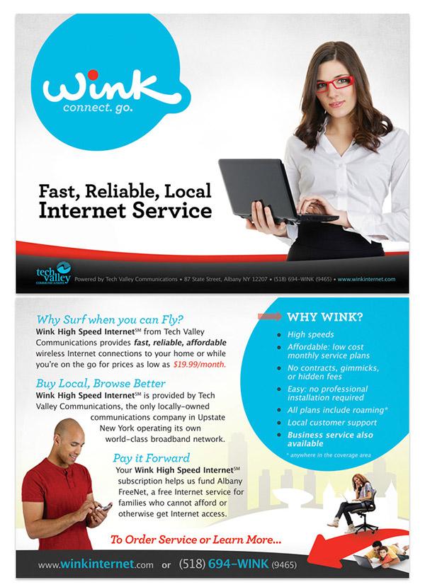Internet service marketing   postcard design microsite design
