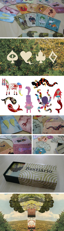Baralho  cards collage bestas beast design paper
