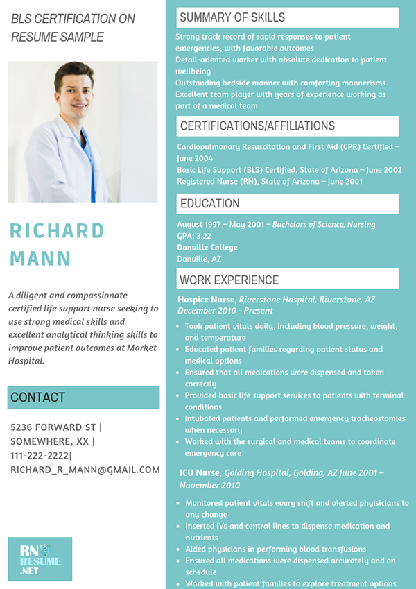 Professional Bls Certification On Resume Sample On Pantone Canvas