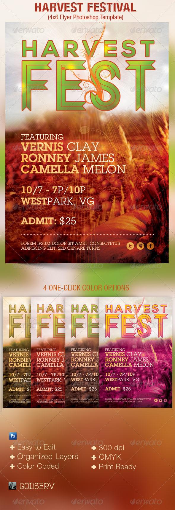 Harvest Festival Church Flyer Template on Behance