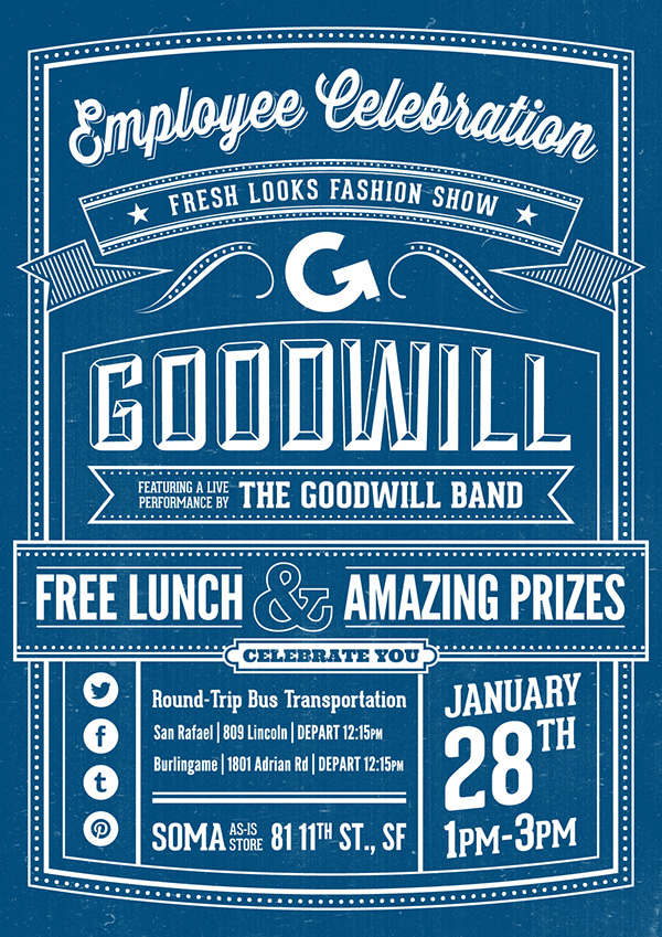 SF Goodwill poster flyer type celebration brand and marketing