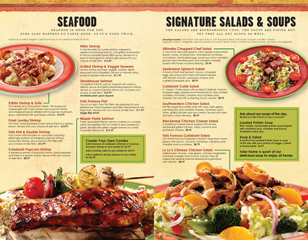 Fatz Cafe Menu