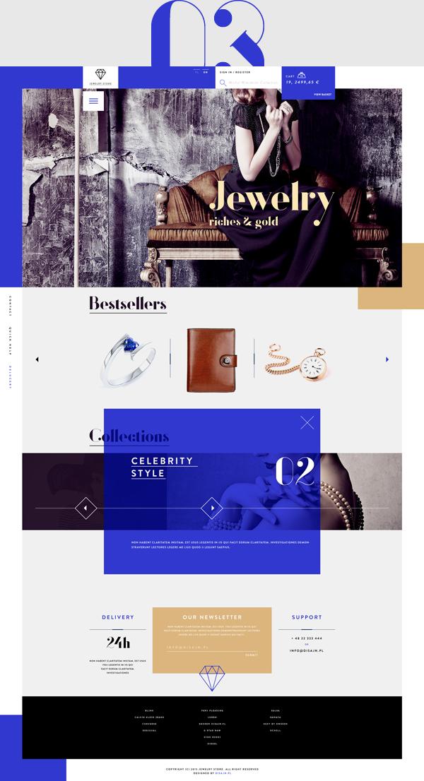 women Ecommerce jewelry biżuteria store shop luxury minimal blue brown clean beauty UI ux Web