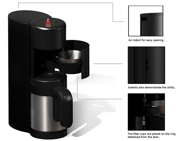 Techno-Aesthetic detailing - Coffee Maker on Industrial Design Served