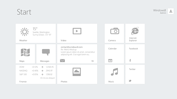 Windows 8 PSD Template (Wireframes) on Pantone Canvas Gallery