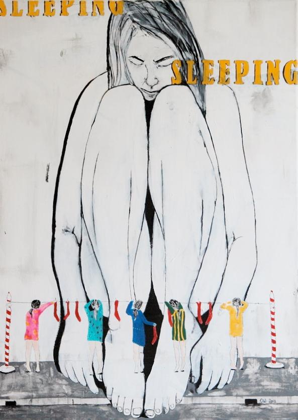 contemporary acrylic canvas self portrait olivia weiss woman socks