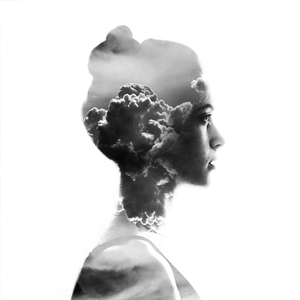 double exposure b&w Silhouette portrait