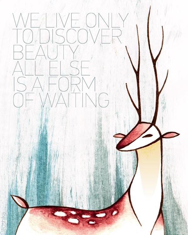 beauty deer  watercolor
