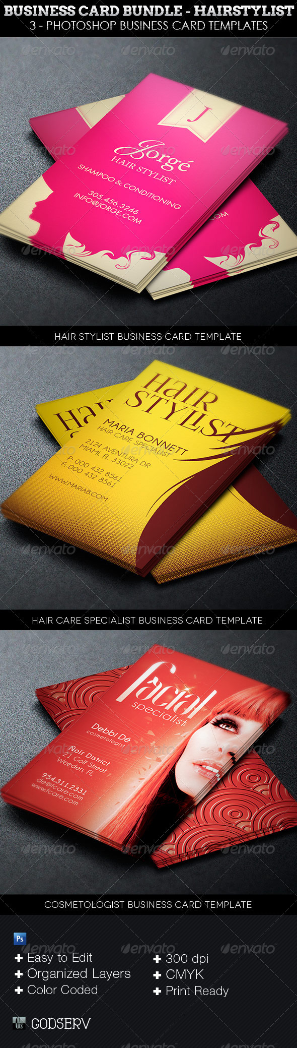 Business card template bundle hairstylist on behance 4 one click color options in each card organized layers color coded layers cmyk300 dpi print ready application requirement photoshop cs4 or reheart Gallery