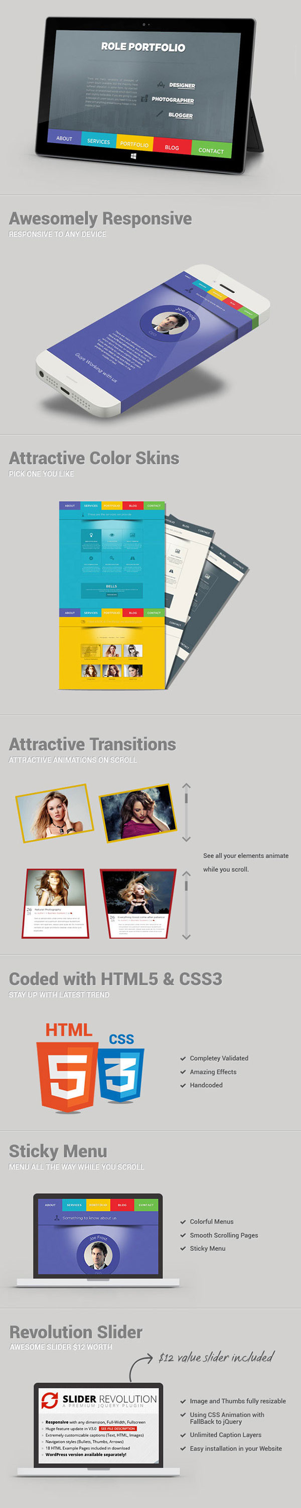 Role one page portfolio html5 template on pantone canvas for Page 3 salon coimbatore
