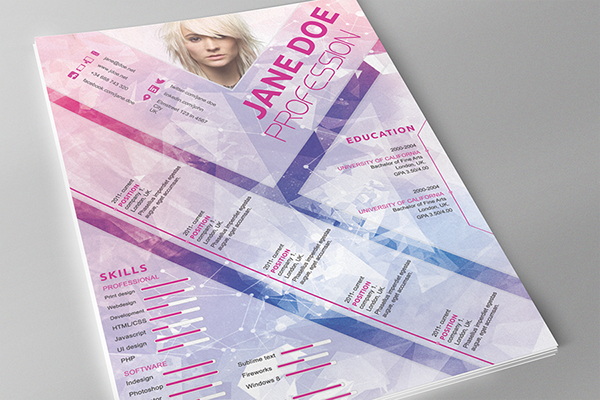 attractive photoshop resume template it was designed using free fonts and nice futuristic style fully editable layered psd