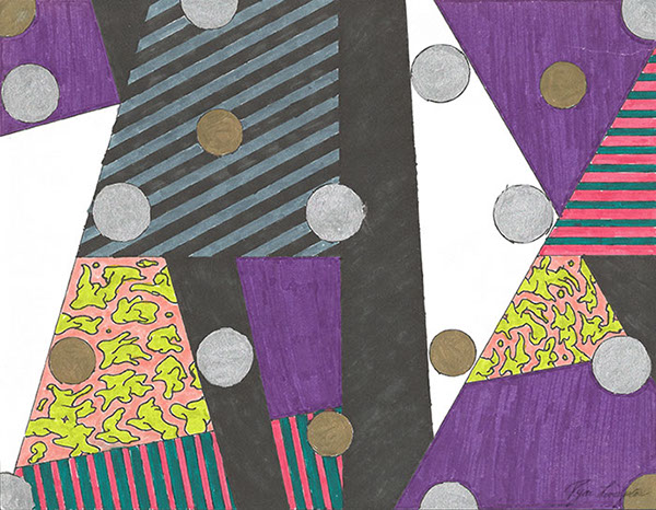 abstract geometric surreal composition lines orbs circles purple red blue silver gold