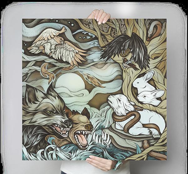 vinyl ink dotwork wild wolf forest roar evil