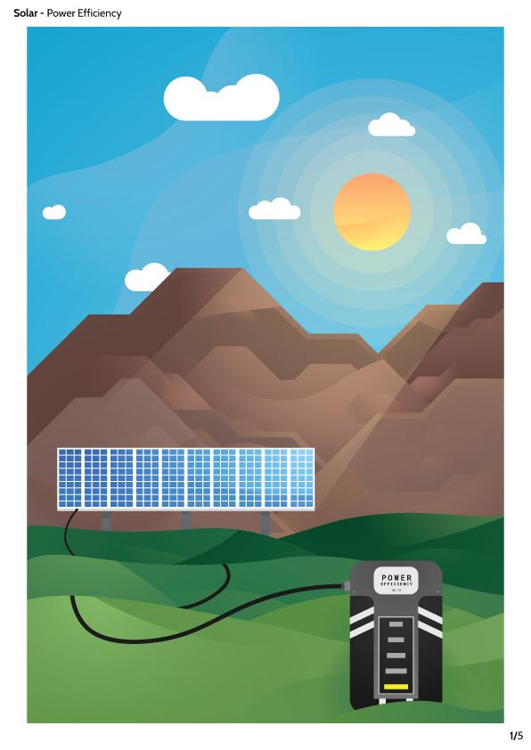 poster Illustrator Landscape gradient curve smooth power solar panel vector a4
