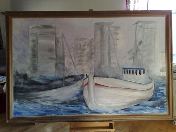 fine art oil Paintings Norra Hamnen Helsingborg Skåne helsingborg Norra Hamnen oljemålning