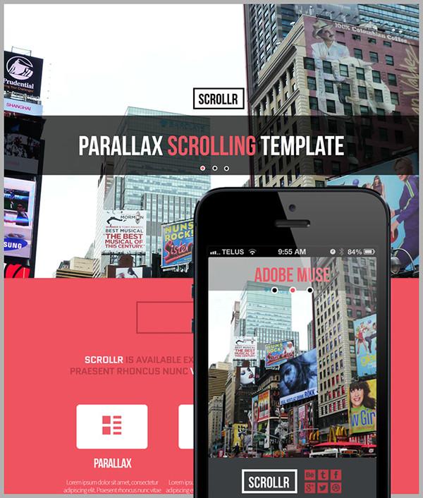 scrollr parallax scrolling adobe muse theme on behance