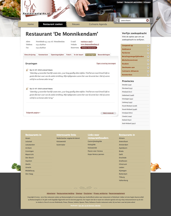 Webdesign jeroen rijpstra Restaurantgids.nl Van der Let & Partners Identity