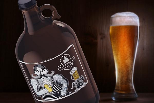 Beer Growler Sticker Design for Craftndraft