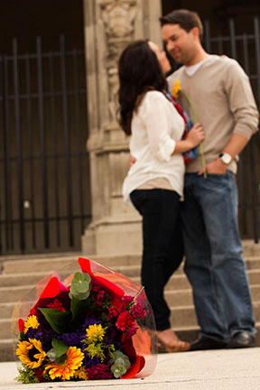 engagement Love Flowers Mission Inn Riverside California art hearts color bright red walking romance couples passion