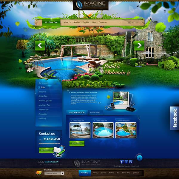 Imagine pool and landscape llc website on pantone canvas for Pool design company radom polen