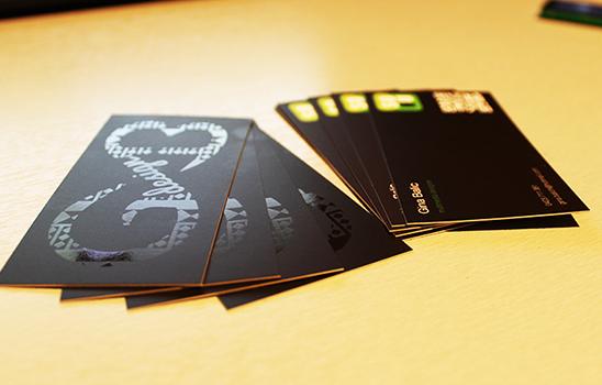 Druck-Veredelung von Visitenkarten mit Spotlack