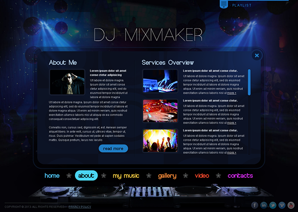 DJ Mix Maker Music Is My Life HTML Template On Behance - Dj website templates