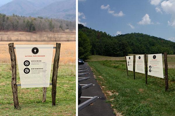 Signage  sign system sign National Park Smoky Mountains  environmental design logo trademark wood orange Nature
