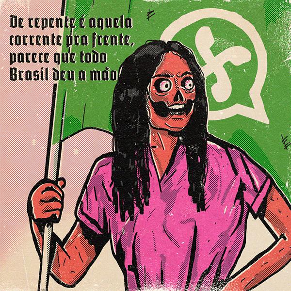 caricacura da regina duarte segurando uma bandeira com o logo do whatsapp parecendo uma suástica