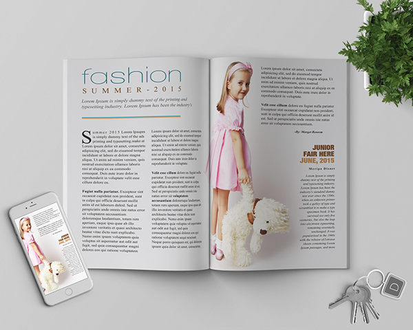 junior fashion spread magazine page template on student show