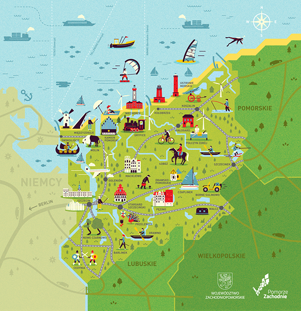 Pomorze Zachodnie on Behance – Poland Tourist Attractions Map