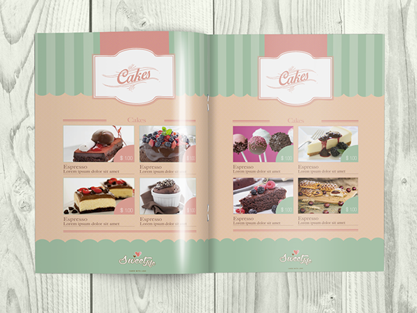 wedding cake brochure templates vintage cake menu brochure bi fold template on behance 22105